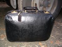 Retro vintage 1950 s Cheney England made black leather bag luggage, women's suitcase