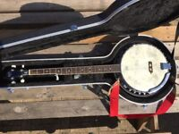 Banjo with hard travel case
