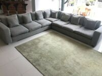 FURNITURE VILLAGE GREY FABRIC CORNER SOFA - MUST GO TODAY TODAY - CHEAP DELIVERY - £525