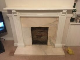 White Painted Pine Fireplace Surround & marble insert and hearth