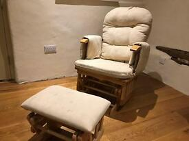 Nursing Rocking Chair and Footstool