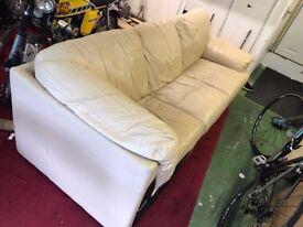 L Shape Cream Leather Sofa