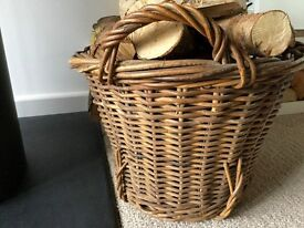LOG BASKET - vintage/antique unusual with lovely detail - VERY STRONG AND WELL MADE