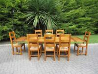 "Chunky Plank-Pine Table & 8 Chairs (9' 6"" Extended)"