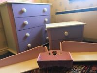 Bedroom furniture set - Chest of drawers, bedside table, shelves etc. (Pink, purple & white colours)