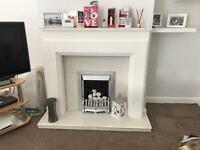 Fireplace surround white frame including gas fireplace