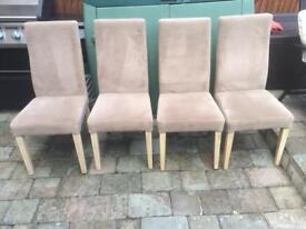4 x faux suede high back chairs