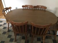 Solid Oak Oval Dining Table & 6 Chairs