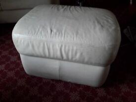 Cream leather storage pouffee