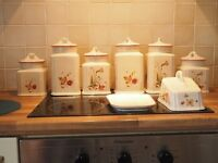 ROYAL WINTON LARK RISE, SIX STORAGE JARS, MILK JUG AND LARGE CHEESE DISH