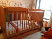 Mama's and papas cot bed, under bed drawer and changing topper