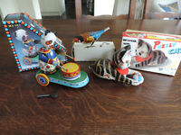 3 x Metal wind up Toys - A Cat with a Ball, a Feeding Bird & a Drumming Panda.