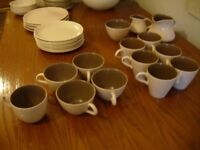 Poole Pottery Twin Tone C54 Sepia/Brown & Mushroom/Cream 50 cups, saucers, plates, bowls, pots, jugs