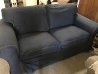 Ikea ektorp 2 seater sofa with new denim blue covers