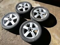 SAAB 9.5 17inch 5 spoke alloy wheels with set of matching part worn tyres