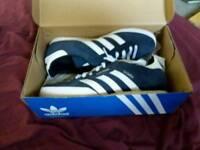 Brand new blue Adidas samba. Size 8.
