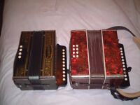 Two button Key Accordions/Melodeons For Sale (One Hohner Single Row)