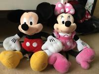 Minnie and Mickey large soft toys.
