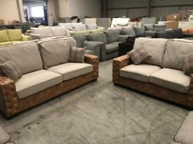 Brand new tan brown and grey 3+2 seater sofa suite