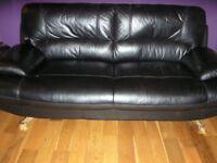 Harvey's Black Leather 3 seater sofa