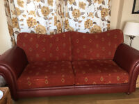 Brown Leather and Fabric sofa