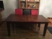 Mahogany Solid Wood Extendable Dining Table 6'x3' (extendable to just over 7')