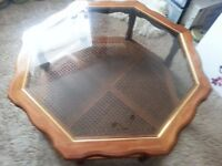 OCTAGONAL GLASS & OAK COFFEE TABLE.