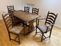 Dining table and six chair set
