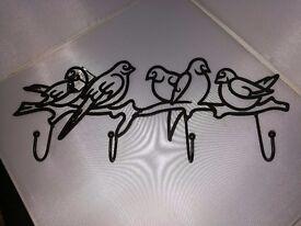 Metal 4 Hook & Hanger Bird Design for Walls and Doors (x 3)