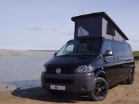 2012 VW T5 61 PLATE BLACK LWB 140BHP WITH PROFESSIONAL DELUXE CONVERSION