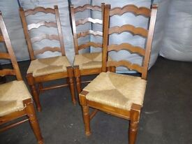 Vintage 4 Rush seat chairs solid wood dining room kitchen restoration shabby chic