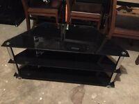 Black Glass 3 Shelf TV Corner Stand