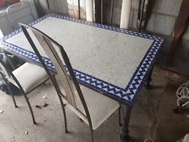 Mosiac Table and 6 chairs