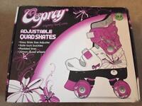 Osprey Adjustable Quad Roller Skates - Size 13-3 - White & Purple