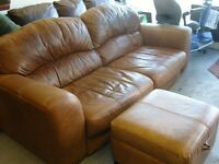 Tan Aniline Leather 3 Seater Sofa Settee and Ottoman Footstool