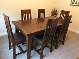 Hardwood Extending Dining Table with 8 Chairs