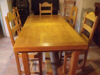 French Oak Extending Dining Table & 6 Chairs