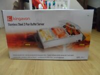 Kingavon Stainless Steel 3 Pan Buffet Server brand new in box .