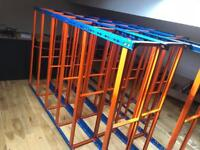 4 X HEAVY DUTY STORAGE RACKS 6ft by 4ft - 6 shelved Orange / Blue