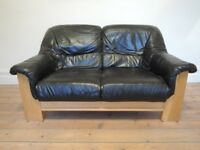 3 Piece Suite - Real Leather Sofa With Two Armchairs - Solid Ash Frame