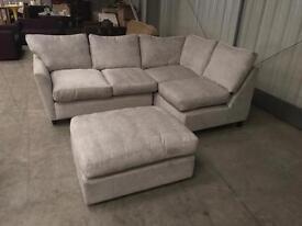 Brand new designer M & S grey corner sofa + pouffe