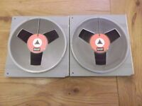 """Two BASF DP26 2400ft reel-to-reel tapes on 7"""" plastic spools"""