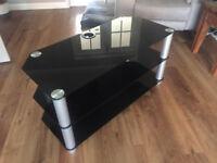 Black Glass TV Stand - 3 Shelves
