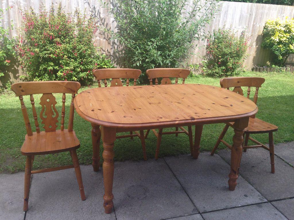 solid pine dining table and 4 matching chairs in cardiff gumtree