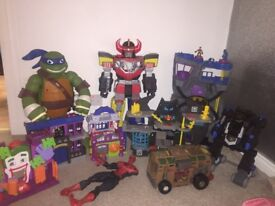 Boys batcaves , batbot , power ranger, turtle truck, huge turtle £200