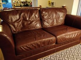 3 piece brown leather suite for sale in Carmarthen