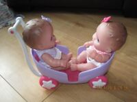 TWIN DOLLS in PUSHCHAIR - sturdy plastic - ideal for toddlers / small children