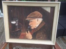 Oil painting of old man in pub