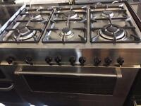 Stainless steel delonghi 90cm sixth burners gas cooker grill & oven good condition with guarantee