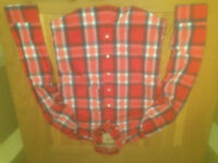 Hollister men's red plaid shirt (large; slim fit) (never worn) JUST REDUCED